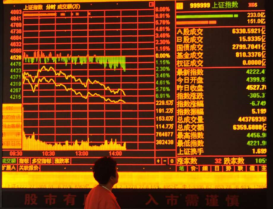 The market plunge is seen on a monitor at a stock exchange hall in Fuyang, China. Photo: ChinaFotoPress, Getty Images