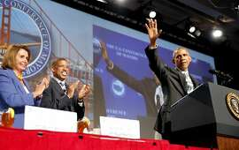 President Obama addressing conference of mayors in San Francisco