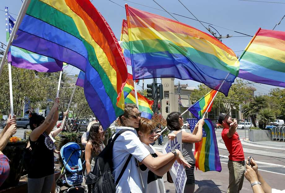 People celebrate the Supreme Court's gay marriage decision in the Castro neighborhood in San Francisco, California, on Friday, June 26, 2015. Photo: Connor Radnovich, The Chronicle