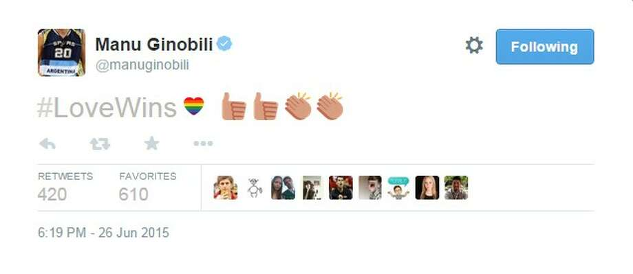 Spurs' Manu Ginobili tweeted #LoveWins along with the thumbs up and applause emojis. Photo: Screen Shot
