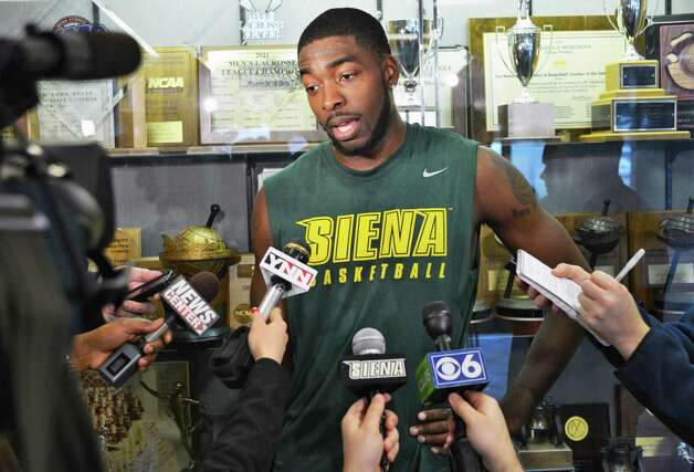 Siena forward O.D. Anosike speaks with the media about being selected to play on the US National team at next month's World Championships during a news conference at the college Tuesday March 26, 2013.  (John Carl D'Annibale / Times Union) Photo: John Carl D'Annibale / 00021743A