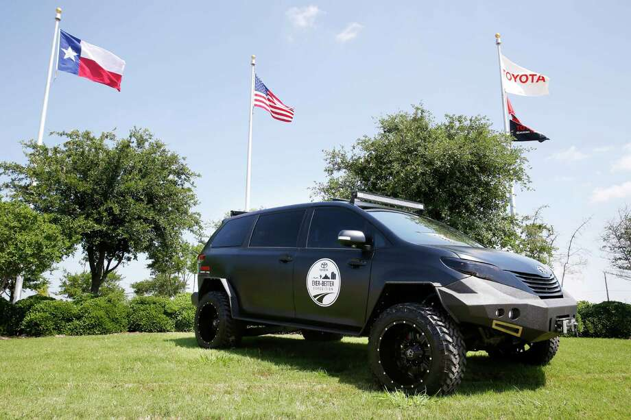 Toyota employees have fused a Tacoma with a Sienna to make the Ultimate Utility Vehicle, a minivan with off-road capabilities. This summer, the vehicle will tour North American Toyota facilities. Photo: Toyota / AP Images