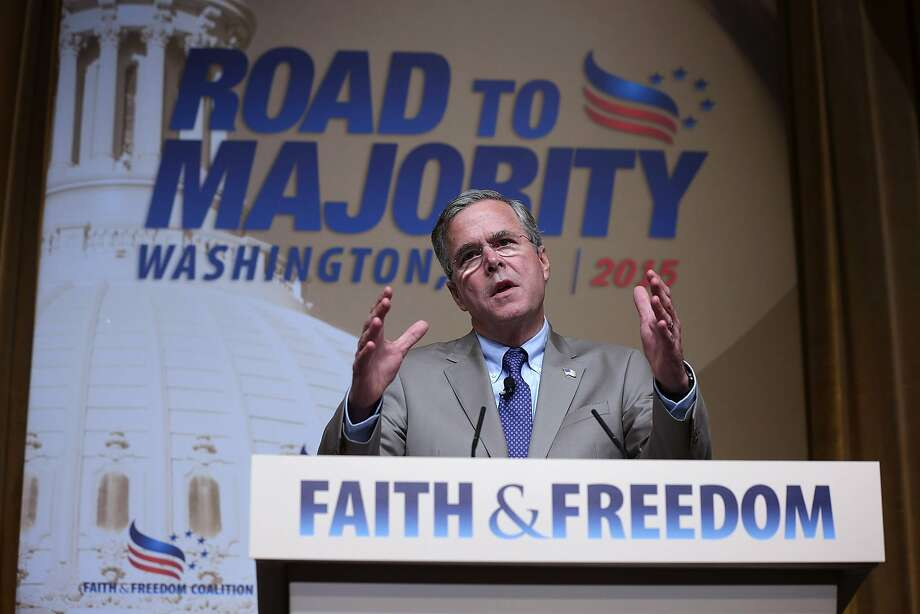 "Republican U.S. presidential hopeful and former Florida Governor Jeb Bush speaks during the ""Road to Majority"" conference June 19, 2015 in Washington, DC. Conservatives gathered at the annual event held by the Faith & Freedom Coalition and Concerned Women for America held the annual event to discuss politics.  Photo: Alex Wong"