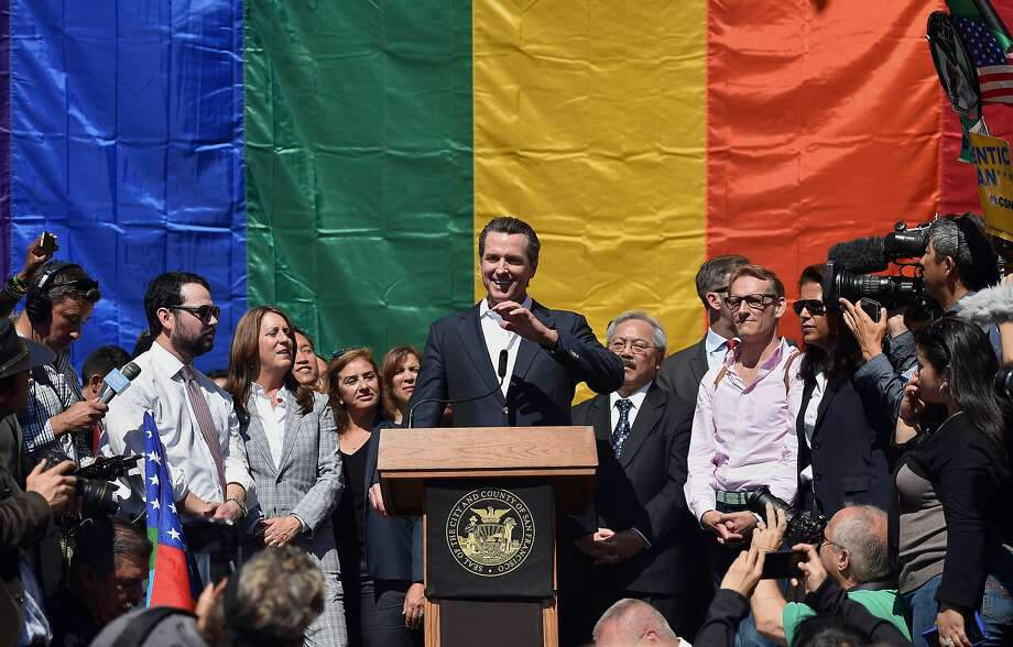 Lt. Gov. Gavin Newsom speaks during a news conference outside City Hall after the U.S. Supreme Court same-sex marriage ruling. Photo: Josh Edelson, Bloomberg