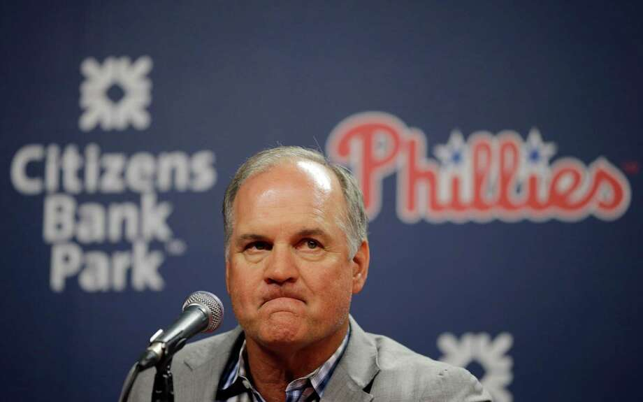 Former Philadelphia Phillies manager Ryne Sandberg pauses during a news conference where he announced his resignation before a baseball game against the Washington Nationals, Friday, June 26, 2015, in Philadelphia. (AP Photo/Matt Slocum) Photo: Matt Slocum, STF / AP
