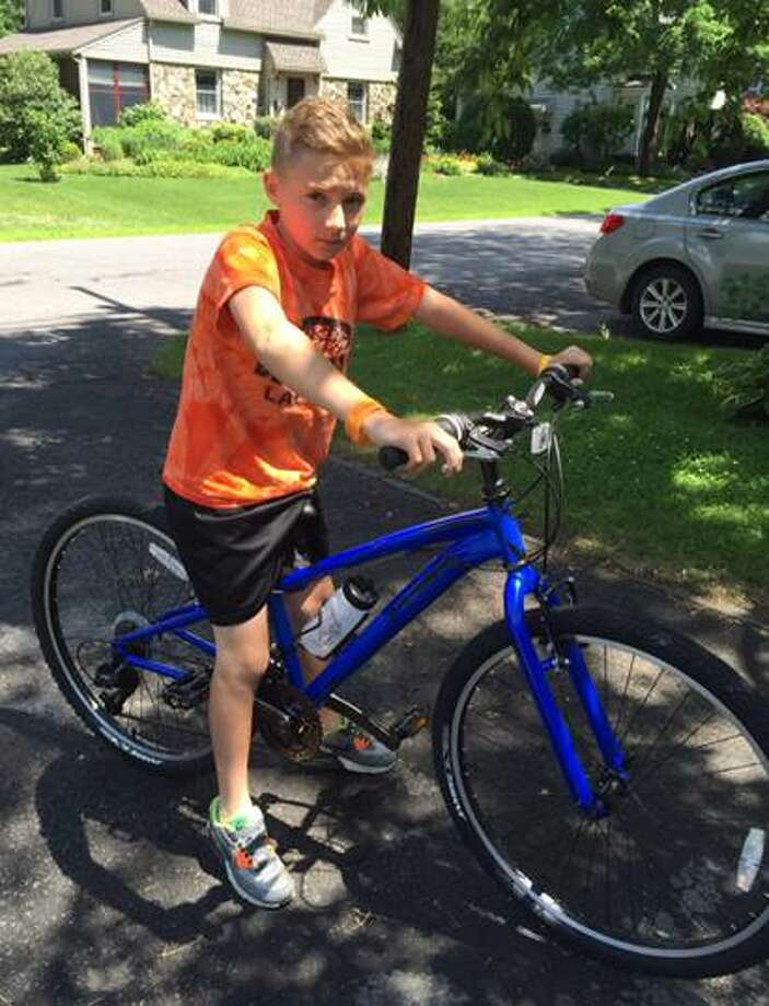 Rylan Gaffney with is new bicycle. (Bethlehem Police Officers' Unions)