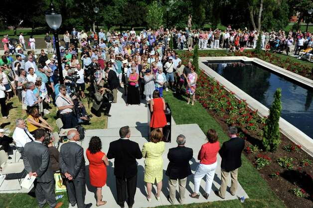 About 250 people attended  the centennial rededication ceremony of the Spirit of Life and Spencer Trask Memorial on Friday, June 26, 2015, at Congress Park in Saratoga Springs, N.Y. (Cindy Schultz / Times Union) Photo: Cindy Schultz / 00032389A