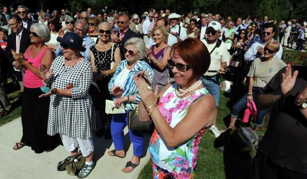 The audience applauds the speakers during the centennial rededication ceremony of the Spirit of Life and Spencer Trask Memorial on Friday, June 26, 2015, at Congress Park in Saratoga Springs, N.Y. (Cindy Schultz / Times Union) Photo: Cindy Schultz / 00032389A