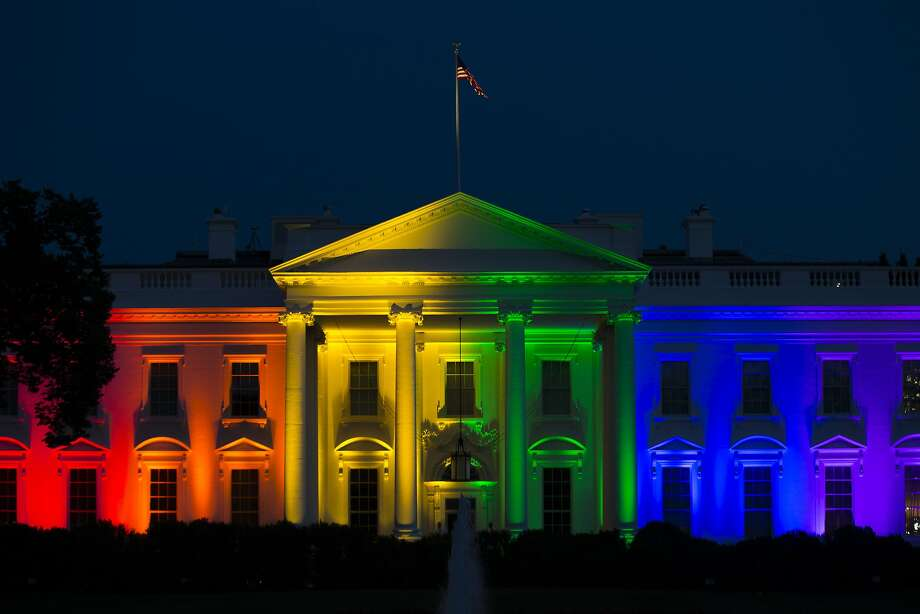 Republican presidential candidates criticized the decision that led to the White House being lit in rainbow colors. Photo: Evan Vucci, Associated Press