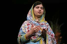 Nobel Laureate, Malala Yousafzai speaks to a crowd of nearly 4,000  at the San Jose State Events Center on Fri. June 26, 2015, in San Jose , Calif.
