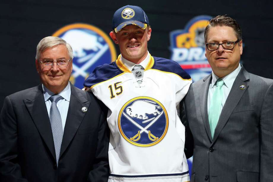 SUNRISE, FL - JUNE 26:  Jack Eichel poses on stage after being selected second overall by the Buffalo Sabres in the first round of the 2015 NHL Draft at BB&T Center on June 26, 2015 in Sunrise, Florida.  (Photo by Bruce Bennett/Getty Images) ORG XMIT: 560357969 Photo: Bruce Bennett / 2015 Getty Images