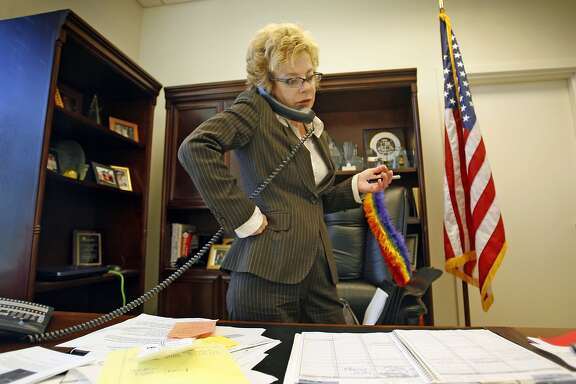 MIGDEN_51915.JPG Senator Carol Migden chats on the phone about her upcoming vote on the State Budget. State Senator Carole Migden has been hiding the fact that she has leukemia for the last 10 years. She has also supported legislation promoted research and development of therapies to cure this disease. (July20) Lance Iversen/The Chronicle (cq) SUBJECT 7/20/07,in SACRAMENTO. CA.