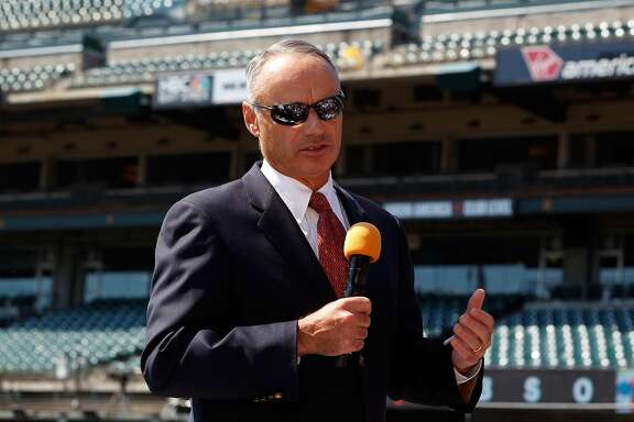 SAN FRANCISCO, CA - JUNE 25:  Commissioner of Major League Baseball Rob Manfred speaks before the game between the San Francisco Giants and the San Diego Padres at AT&T Park on June 25, 2015 in San Francisco, California.  (Photo by Jason O. Watson/Getty Images)