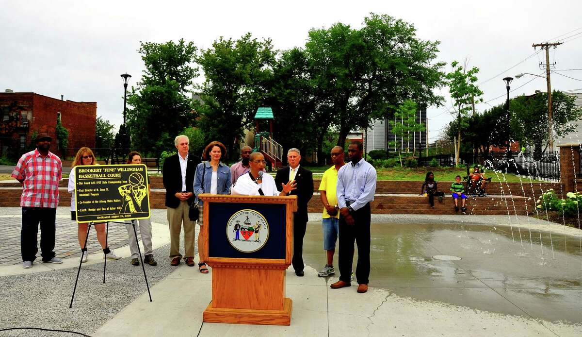 Arlene Way, president of the Arbor Hill Neighborhood Association, speaks during the official opening of the renovated North Swan Street Park in Albany's Arbor Hill on Saturday, June 27, 2015. (Steve Barnes/Times Union)