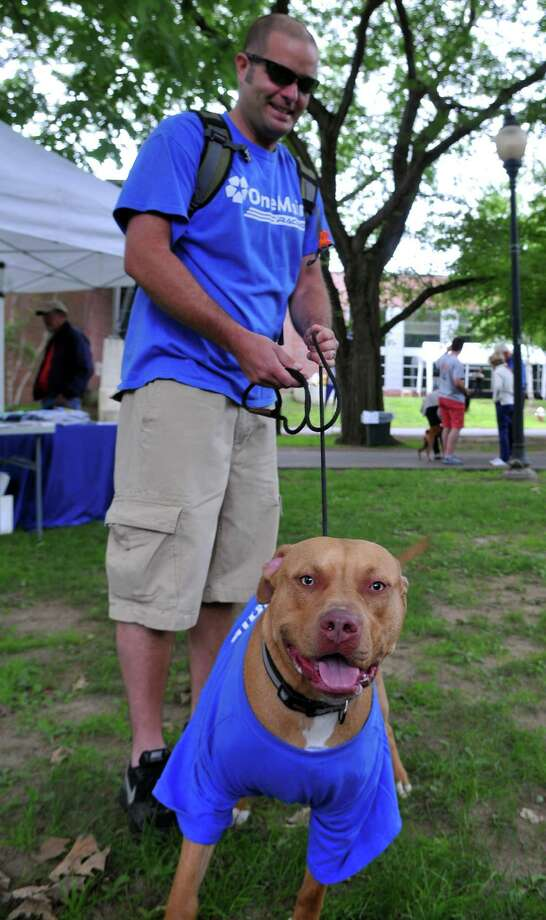 Chris Clark and dog, Zeppelin, walk around during Paws in the Park Saturday, June 27, 2015, at Siena College in Loudonville, N.Y. (Phoebe Sheehan/Special to The Times Union) Photo: PS / 00032216A