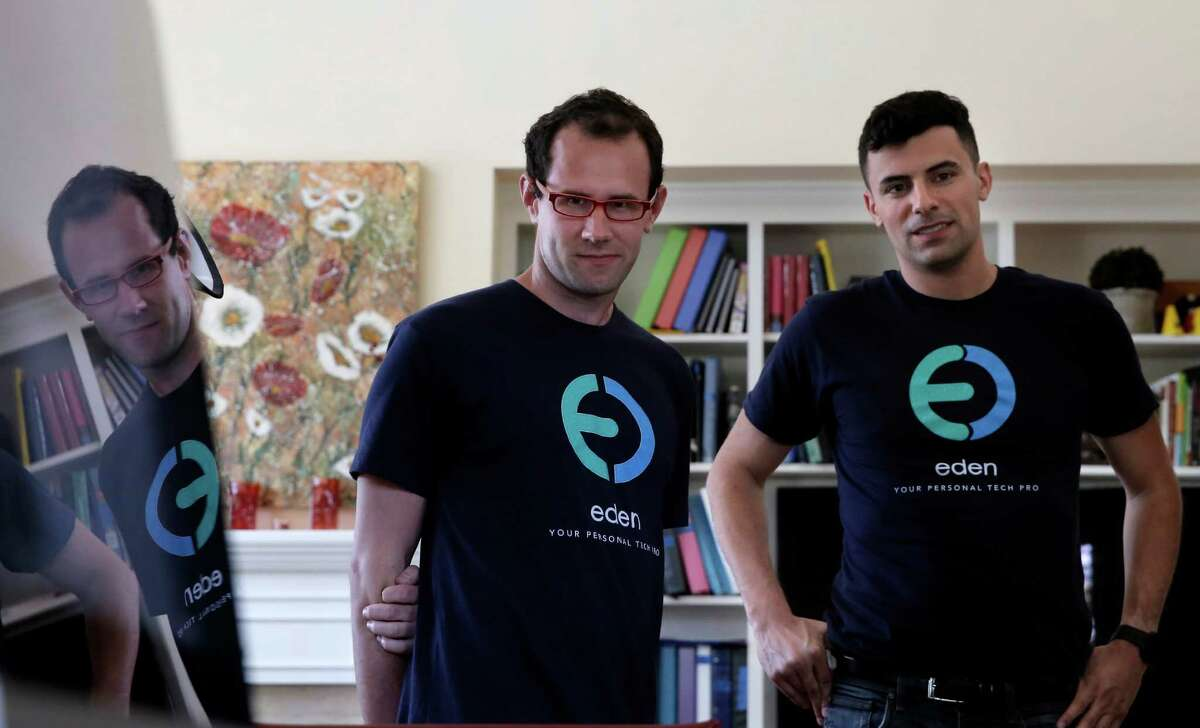 Kyle Wilkinson, (left) the CTO and co-founder of Eden and Joe Du Bey, CEO and co-founder also of Eden, during a visit to the home of David and Abby Ross in Palo Alto, Calif. on Thurs. June 25, 2015. Eden is an on-demand service where Eden Tech Wizards visit customers exactly when and where they are needed, to solve consumer's technology needs.