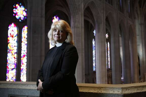 Reverend Canon Elizabeth Grundy of Grace Cathedral, who performs same-sex weddings,  photographed in the cathedral in San Francisco, Calif., on Saturday, June 27, 2015.