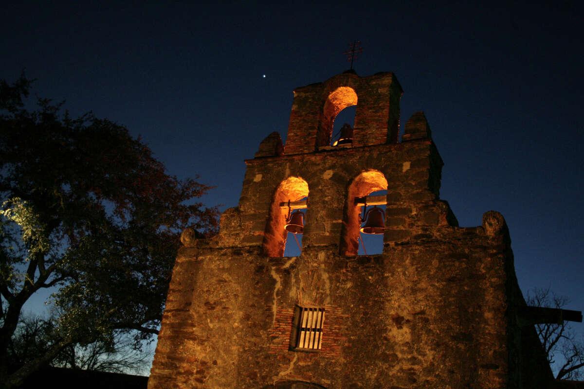 Mission Espada is shrouded by the night. JOHN DAVENPORT/jdavenport@express-news.net