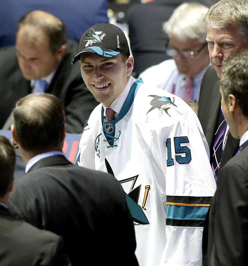 The Sharks traded up for the first pick in the second round to draft defenseman Jeremy Roy, above; they also parted ways with goalie Antti Niemi. Photo: Alan Diaz, Associated Press