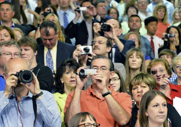 Family and friends watch during graduation ceremonies for Guilderland High School at SEFCU Arena Saturday June 27, 2015 in Albany, NY.  (John Carl D'Annibale / Times Union) Photo: John Carl D'Annibale / 00032181A