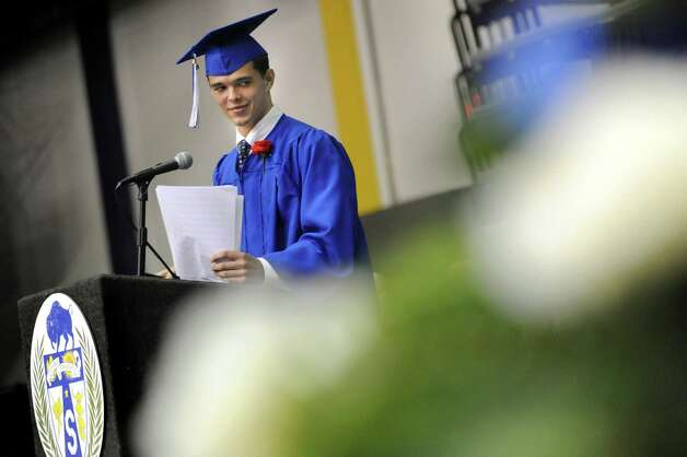 Class president Michael Alley addresses fellow graduates during the Shaker High commencement ceremony on Saturday, June 27, 2015, at UAlbany in Albany, N.Y. (Cindy Schultz / Times Union) Photo: Cindy Schultz / 00032180A
