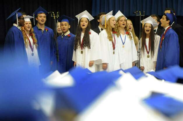 "The Shaker Select choir sings ""I am a Small Part of the World"" during the Shaker High commencement ceremony on Saturday, June 27, 2015, at UAlbany in Albany, N.Y. (Cindy Schultz / Times Union) Photo: Cindy Schultz / 00032180A"