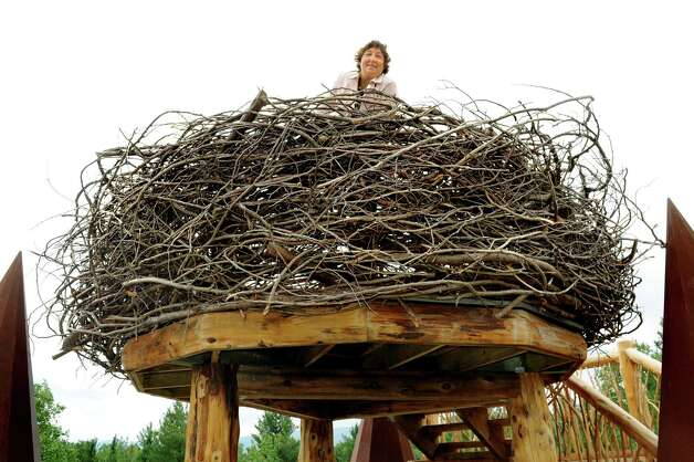Stephanie Ratcliffe, executive director, takes in the view from a giant eagle's nest that's part of the new Wild Walk on Tuesday, June 23, 2015, at the Wild Center in Tupper Lake, N.Y. (Cindy Schultz / Times Union) Photo: Cindy Schultz / 00032307A