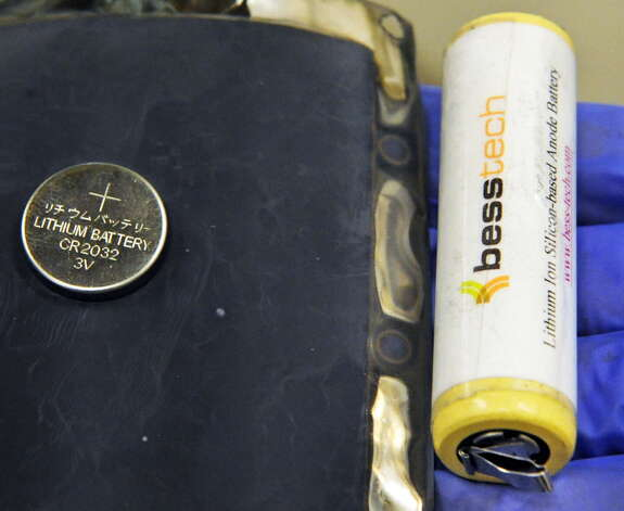 Lithium ion batteries and a silicon anode sheet, a component in the manufacturing of besstech batteries in a SUNY Poly campus lab at CNSE Tuesday June 23, 2015 in Albany, NY. (John Carl D'Annibale / Times Union)