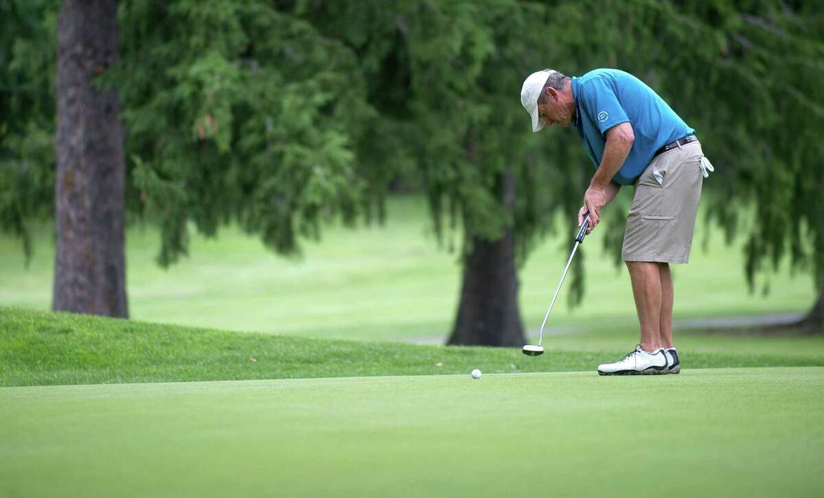 Jim Romaniello plays in the first round of the Stamford Amateur Golf Championship at E. Gaynor Brennan Golf Course in Stamford, Conn., on Saturday, June 27, 2015.