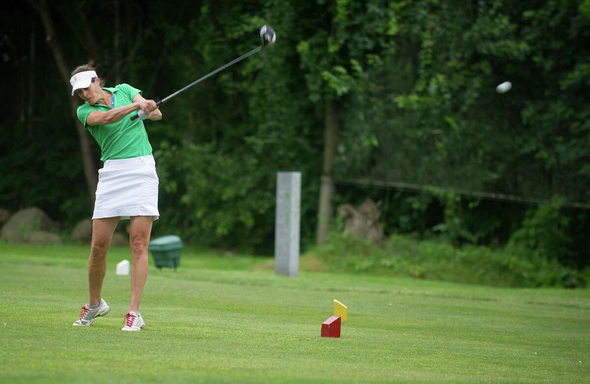 Jen Kaplan plays in the first round of the Stamford Amateur Golf Championship at E. Gaynor Brennan Golf Course in Stamford, Conn., on Saturday, June 27, 2015.