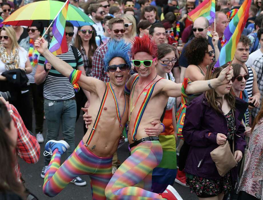 Ireland, which last month approved same-sex marriage by popular vote, mounted its biggest gay rights parade in the country's history Saturday in Dublin. More than 60,000 participants paraded through the Irish capital. Photo: Niall Carson, SUB / PA