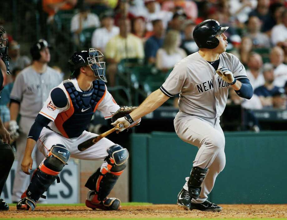 HOUSTON, TX - JUNE 27:  Mark Teixeira #25 of the New York Yankees watches his two-run double in the eighth inning during their game against the Houston Astros at Minute Maid Park on June 27, 2015 in Houston, Texas.  (Photo by Scott Halleran/Getty Images) ORG XMIT: 538584645 Photo: Scott Halleran / 2015 Getty Images