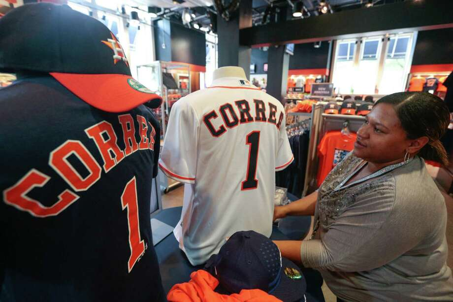 Merchandise with Carlos Correa's name on it has been front and center and selling well at Minute Maid Park since he joined the Astros.Click through the gallery to see the top-selling jerseys for the Astros, Texans and Rockets. Photo: Billy Smith II, Chronicle / © 2015 Houston Chronicle