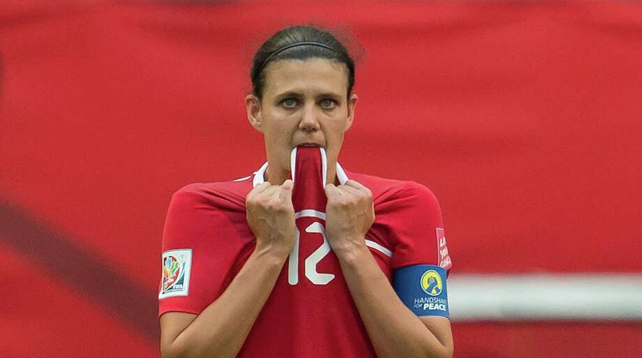 Canada's captain Christine Sinclair halved England's lead in the 42nd minute, but Canada  couldn't tie the match. Photo: JONATHAN HAYWARD, SUB / The Canadian Press