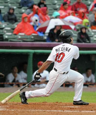 Tri-City ValleyCats # 10 Edwin Medina,doubles in the first inning during Saturday night's against the Staten Island Yankees at Joe Bruno Stadium June 27, 2015 in Troy, NY.  (John Carl D'Annibale / Times Union) Photo: John Carl D'Annibale / 00032383A