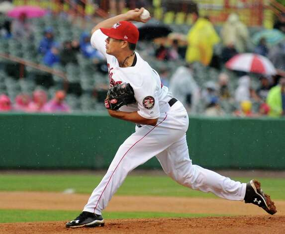 Tri-City ValleyCats starting pitcher Harold Arauz during Saturday night's game against the Staten Island Yankees at Joe Bruno Stadium  June 27, 2015 in Troy, NY.  (John Carl D'Annibale / Times Union) Photo: John Carl D'Annibale / 00032383A
