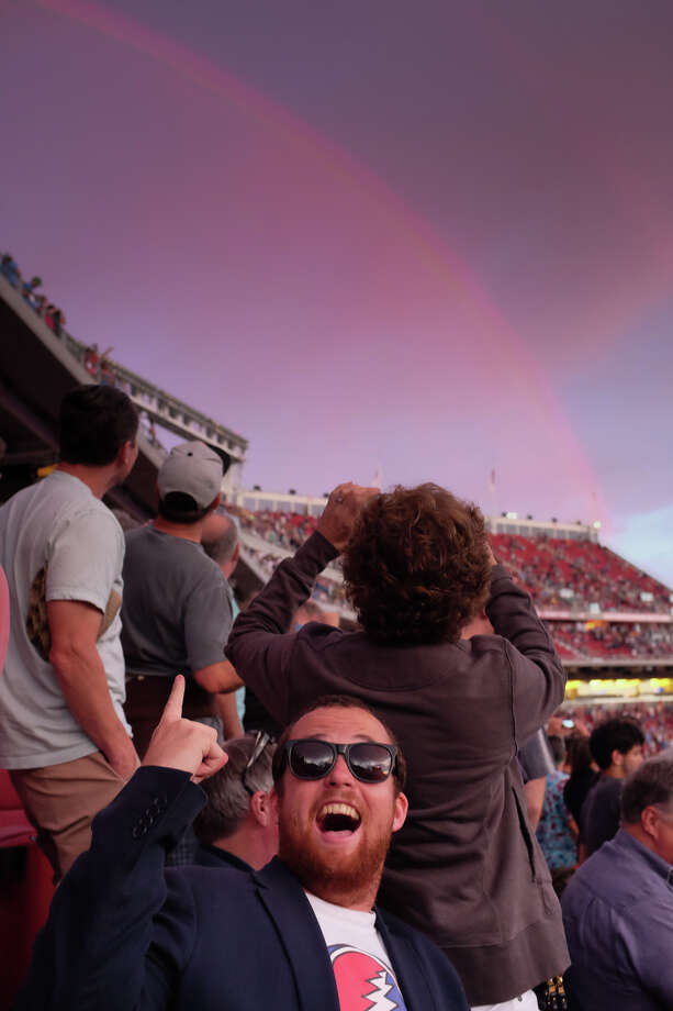 """""""AWESOME!"""" That was the reaction of thousands of Dead fans Saturday night when a rainbow appeared over Levi's Stadium during the first of the Grateful Dead's Fare Thee Well concerts. Photo: Mike Moffitt/SFGate"""