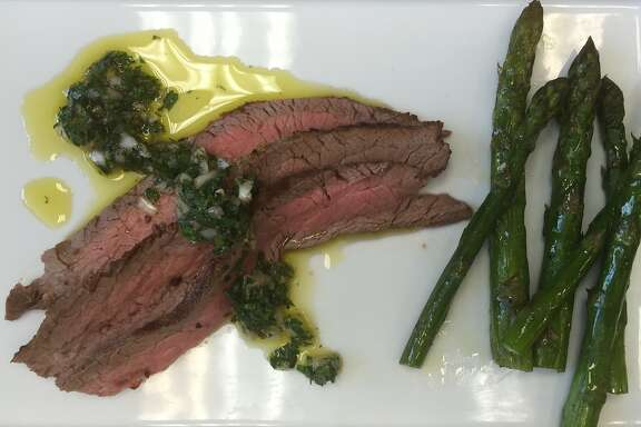 Flank steak with chimichurri and asparagus