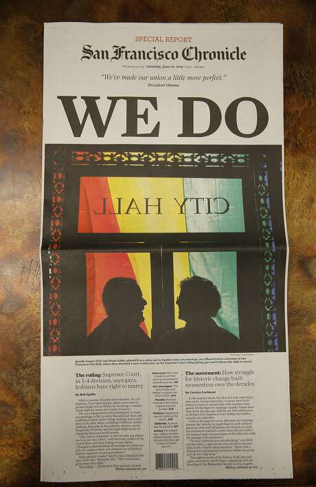 The front page of the San Francisco Chronicle on Saturday, June 27, 2015. Photo: Connor Radnovich, The Chronicle