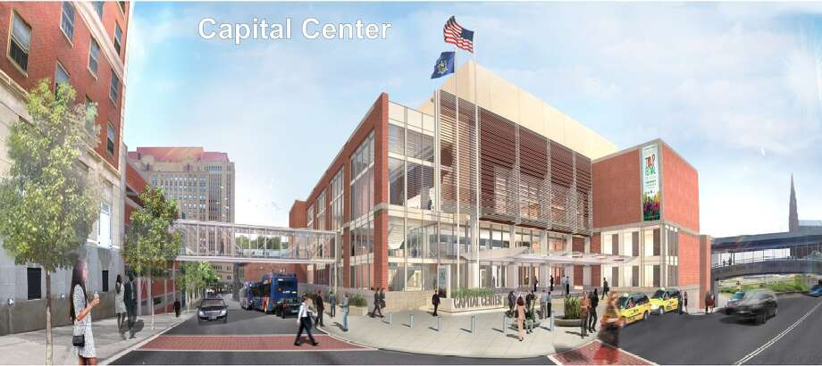 The final rendering of the $66.5 million Albany Capital Center rising off Eagle Street. (Albany Convention Center Authority) ORG XMIT: MER2014082210265638