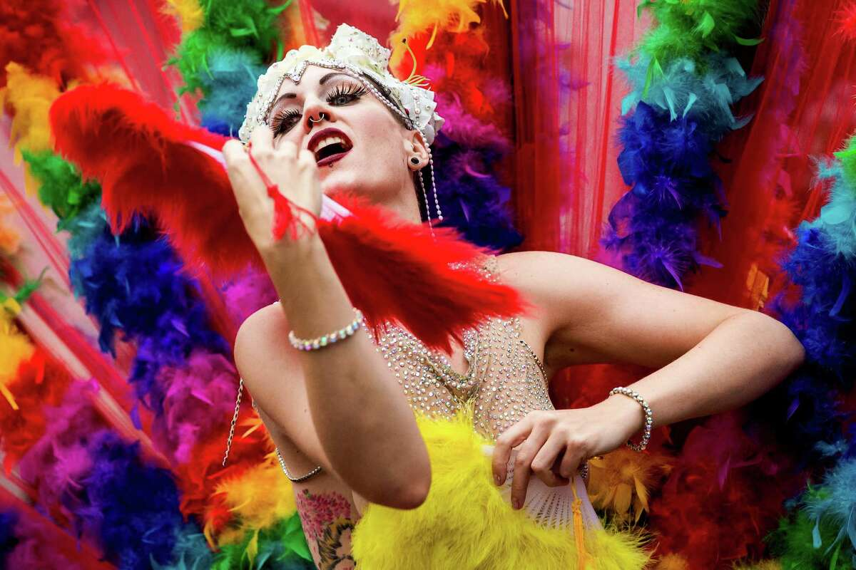 2015: Dancers perform from their float during the 41st annual Pride Parade, photographed Sunday, June 28, 2015, in Seattle, Washington. Last Friday, the Supreme Court ruled a 5-to-4 vote that the Constitution guarantees a right to same-sex marriage.