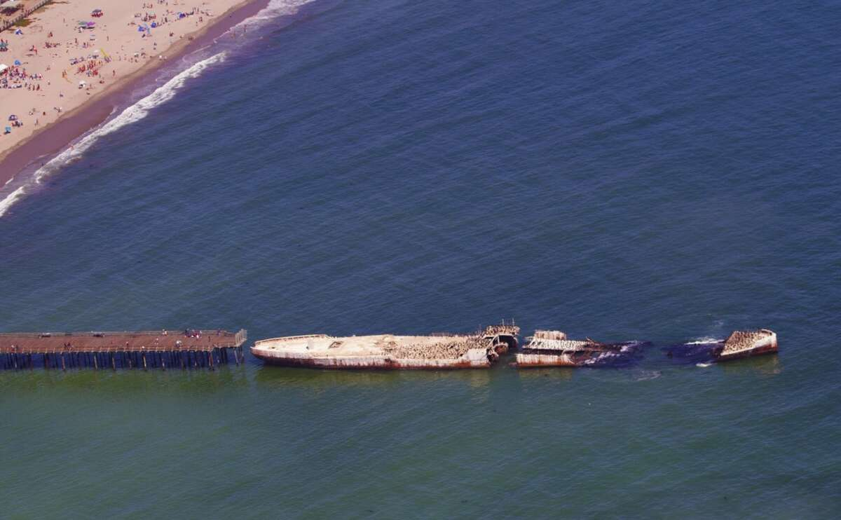 The shark sightings occurred just offshore Seacliff State Beach at Aptos near the ruins of the cement ship in Monterey Bay in 2015.