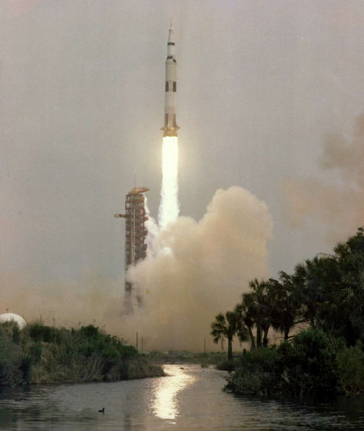 Apollo 13 Launching From Kennedy Space Center, Cape Canaveral, Fla., April 11, 1970. It was to be the third mission in which humans would land on the moon.