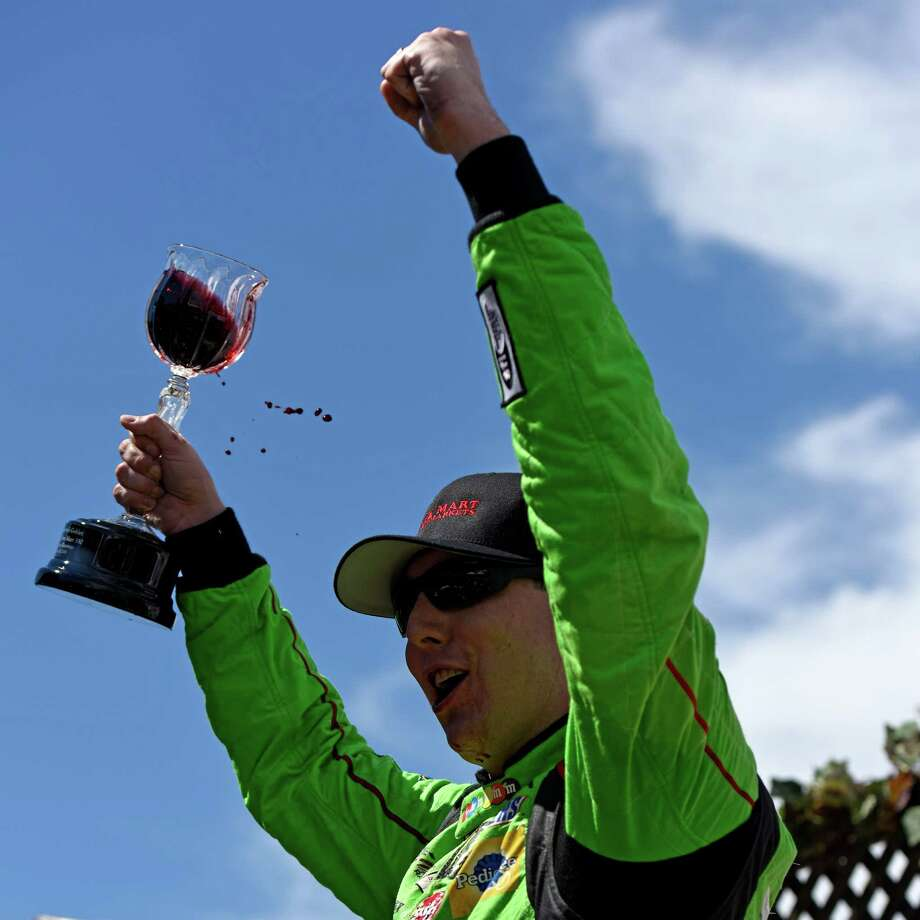 SONOMA, CA - JUNE 28:  Kyle Busch, driver of the #18 M&M's Crispy Toyota, celebrates in Victory Lane after winning during the NASCAR Sprint Cup Series Toyota/Save Mart 350 at Sonoma Raceway on June 28, 2015 in Sonoma, California.  (Photo by Jared C. Tilton/Getty Images) Photo: Jared C. Tilton, Stringer / 2015 Getty Images