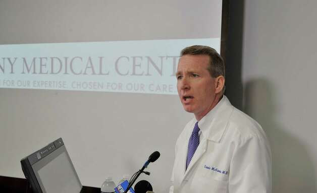 Dr. Dennis McKenna, medical director of Albany Medical Center, briefs the media after prison escapee David Sweat arrived at the hospital on Sunday, June 28, 2015, in Albany, N.Y.  Sweat was shot earlier in the day by a law enforcement officer near the Canadian border.  (Paul Buckowski / Times Union)