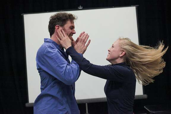 Actress Megan Trout and actor Mark Jackson rehearse their upcoming theater piece, 'Now for Now' at a studio in Berkeley, California, on Saturday, June 27, 2015. The multimedia physical theater piece created and performed by Megan Trout and Mark Jackson opens in San Francisco at Z Space theater starting July 7, 2015.