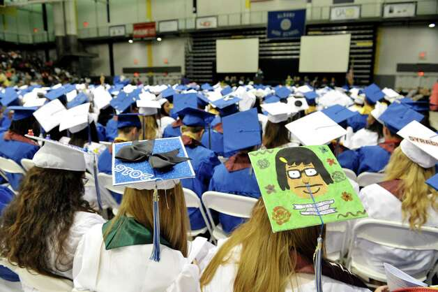 Some graduates decorated their hats at the Albany High School graduation at the SEFCU Arena on the campus of the University at Albany, on Sunday, June 28, 2015, in Albany, N.Y.  (Paul Buckowski / Times Union) Photo: PAUL BUCKOWSKI / 00032184A