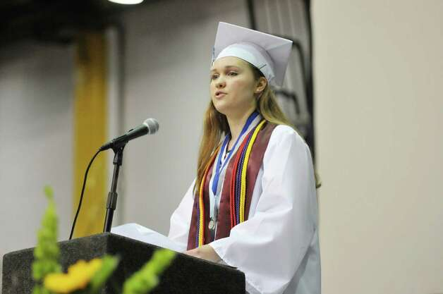 Valedictorian, Clare Criscione, addresses those gathered at the Albany High School graduation at the SEFCU Arena on the campus of the University at Albany, on Sunday, June 28, 2015, in Albany, N.Y.  (Paul Buckowski / Times Union) Photo: PAUL BUCKOWSKI / 00032184A