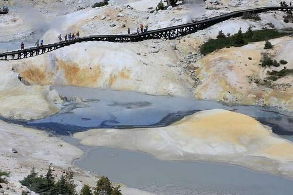 PLACES EVERY CALIFORNIA KID MUST SEE Bumpass Hell, Lassen Volcanic National Park: Walk the boardwalk that traverses a 16-acre cauldron of scalding ponds and mud pots.