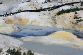Bumpass Hell, Lassen Volcanic National Park: Walk the boardwalk that traverses a 16-acre cauldron of scalding ponds and mud pots.